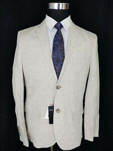 H&M Mens 100% Linen Jacket Size 42R Slim Fit 2 Button Sport Coat Blazer