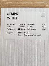 """89mm (3.5"""") VERTICAL BLIND FABRIC. FULL ROLL. 100M. STRIPE WHITE"""