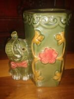 Vintage Glazed Ceramic Majolica? Trunk Up Elephant Bamboo Planter Green Brown 6""