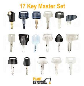 Excavator 17 Key Master Set For Caterpillar Hitachi Komatsu Kubota Mustang