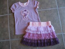 Naartjie Purple Striped JIE JIE Top Netting Tiered Skirt NWT size 6 and 7