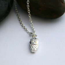 SOLID sterling silver OWL necklace , nature lovers jewellery any length chain