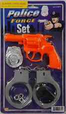 Police Force Set Toy Gun Badge Handcuffs Whistle Halloween Costume Accessory