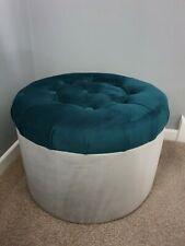 Round Velvet Padded Pouffe Footstool Seating stool Handicraft color teal /silver