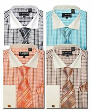 C. Allen Mens Dress shirts Tie Combo French cuff Checked Black Orange Teal Brown