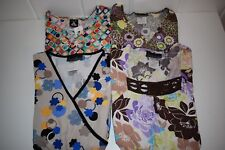 Lot of 4 CHEROKEE SCRUB TOPS XS Flexibles Studio Print 2915C 2789C 3805C 2787C
