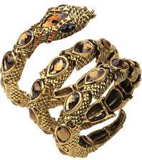 Stretch snake bangle bracelet armlet arm cuff bling jewelry antique gold QA32 US