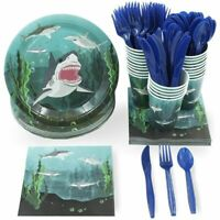 24 Set Party Supplies Dinnerware Knives Spoons Forks Plates Napkins Cups, Shark