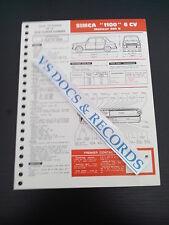 FICHE TECHNIQUE AUTOMOBILE RTA SIMCA 1100 6 CV MOTEUR 350 S (ref002)