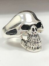 NEW Mens Sterling Silver Skull Ring Solid 925 Antiqued Biker Ghost Rider Heavy