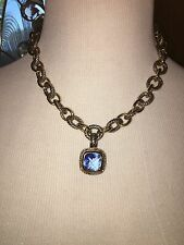 """Premier Designs Necklace """"Sunday Brunch"""" Faux Sapphire And Crystals"""