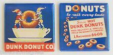 Chocolate Dunk Donuts FRIDGE MAGNET Set (2 x 2 inches each) sign doughnut