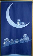 Japanese Noren Door Curtain OWL and MOON Decorate Room Divider