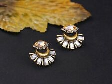 NEW Fashion Cute Small Fan Studs Crystal Gold Autumn Bronze Crystal Earrings UK