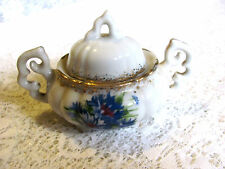 Vintage Miniature Footed Pot with Lid - Flowered Pattern # L-204 Gold Trim