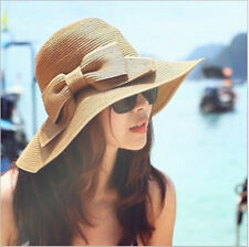Women Folding Summer Beach UV Cap Wide Brim Bowknot Floppy Straw Sun Hat Khaki