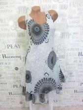 ITALY Sommerkleid Hängerchen Strand Kleid Lagenlook IBIZA 36 38 40 42 Weiß E645