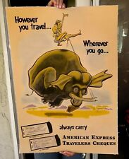 VINTAGE  circa 1950's AMERICAN EXPRESS TRAVELERS CHEQUES POSTER