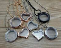 Living Memory Floating Charm Glass Locket Pendant Necklace Women Party Jewellery