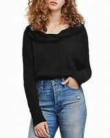 Free People Womens Knit Thermal Top Black Size XS Wildcat Boat-Neck $128 430