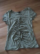 LADIES CUTE GREEN STRIPED VISCOSE SHORT SLEEVE TOP BY ROCKMANS SIZE M AUS 10/12