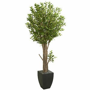 Olive Artificial Silk Tree In Black Planter Nearly Natural 6.5' Home Decoration