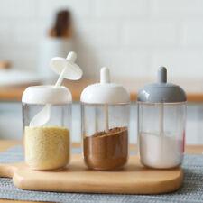Spice Jar Condiment Bottles With Spoon Kitchen Seasoning Container Storage BoFEH