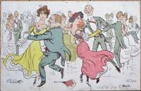 Werth/Artist-Signed 1909 French Postcard: Dancing Couples at Ball - French