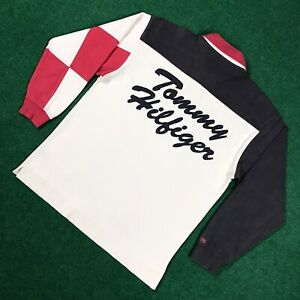 VTG 90S Tommy Hilfiger TH50 Motorcycle Rugby Polo Shirt Spellout Flag Mens L