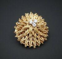 Vintage 18k Gold Hammerman Brothers Diamond Floral Sunburst Brooch Clip OG309