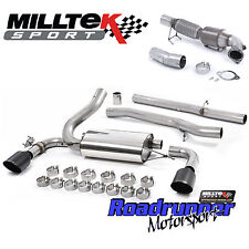 """Milltek Focus RS MK3 Turbo Back Exhaust System & Cat Downpipe 3"""" Non Res Black"""