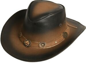 Lederhut Westernhut Cowboyhut Texashut Country Outdoor Unisex »Tombstone« Braun