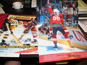 1989 Penguins vs USSR Soviet Red Army Program + Lemieux Gretzky Poster Civic Are