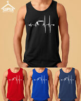 Coffee Cup Heartbeat MAN TANK TOP Funny Coffee Morning Tee Tank Top