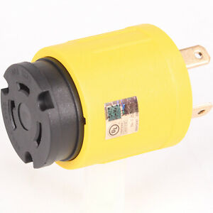 30 AMP NEMA TT-30 Male - L5-30 Female Compact RV Generator Power Adapter Locking