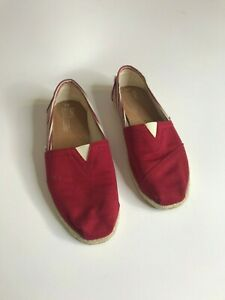 New Womens Size 9 Unisex TOMS Red Stripe Classic Canvas Shoes Espadrille  Flat