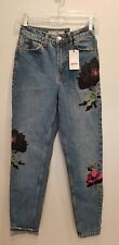 """NWT $110 TOPSHOP MOTO HIGH WAISTED MOM JEANS EMBROIDERY CROPPED ANKLE WOMEN 25"""""""