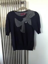 Womens Ted Baker Navy Cotton Crew Neck Short Sleeve Bow Sweater Top Size 2
