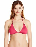 New Lark & Ro Women's Knotted Triangle Bikini Top Tie Dark Pink Coral Size XL