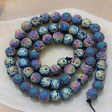 Metallic Titanium Coated Rock Lava Gemstones Round Beads 15