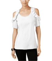NY Collection Womens Top Short Sleeve Ruffle Cold Shoulder Blouse White $40