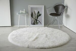 Natural Genuine Real Sheepskin Rug Round Circle Shape Soft White Shorn Wool Fur