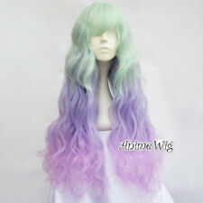 65CM Lolita Christmas Curly Fluffy Light Green Mixed Purple Ombre Cosplay Wig