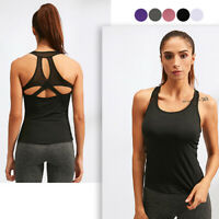 Womens Cute Workout Clothes Mesh Yoga Tops Exercise Gym Shirts Running Tank Tops