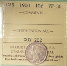 1900 Canada Silver 10 Cents - ICCS VF-30  -  Serial # X0X 202