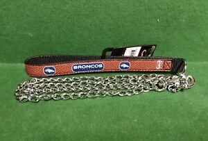 NFL 🏈 Denver Broncos Football Leather Strap Chain Leash Dog/Cat🐾 Medium