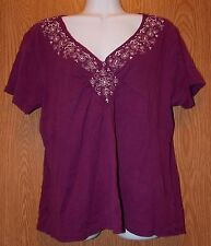 Womens Pretty Purple Embroidered Shenanigans Short Sleeve Shirt Size Medium exc