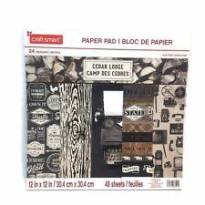 Craft Smart Paper Pad 12x12 Cedar Lodge Scrapbook 48 Sheets 24 Designs