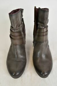 Pikolinos Womens Gray 2.75 In Heel Boots W/Purple Interior Zip Up Size 8.5 EU 39