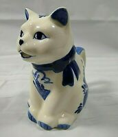 Vintage Blue Delft Cat Creamer Kitty Kitten Ceramic Hand Painted Crown Mark